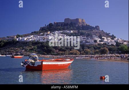 Lindos Bay and the Acropolis, Agean Sea. Greece.  XPL 4857-456 - Stock Photo