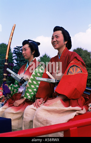 Japan, Tokyo, Women Dressed in Traditional Samurai Costume, Jidai Matsuri Festival, Sensoji Temple Asakusa - Stock Photo