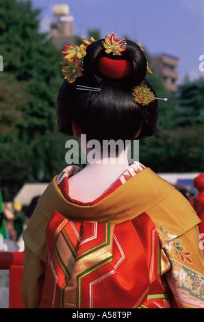 Japan, Tokyo, Geishas, Jidai Matsuri Festival, Sensoji Temple Asakusa - Stock Photo