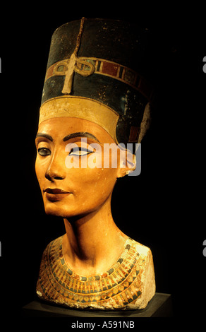 Original bust of Queen Nefertiti of  Pharaoh Amenhotep IV Egyptian Museum in Berlin - Stock Photo