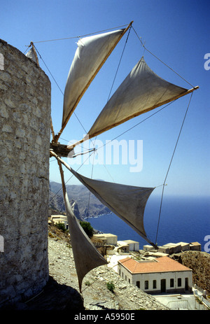 Windmills of Olympos Olymbos Karpathos Greek Dodecanese Island Greece - Stock Photo