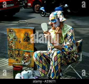 Clown Barcelona Spain La Rambla Les Rambles Las Ramblas - Stock Photo