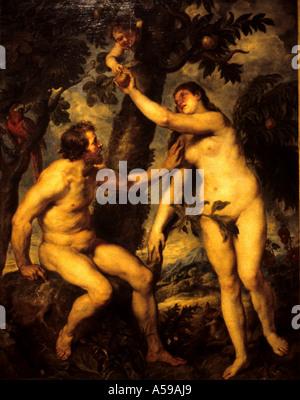 Adam and Eve the Garden of Eden Peter Paul Rubens 1577-1640 Flemish Belgian Belgium - Stock Photo