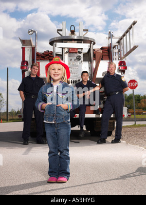 Portrait of Girl with Fire Fighters