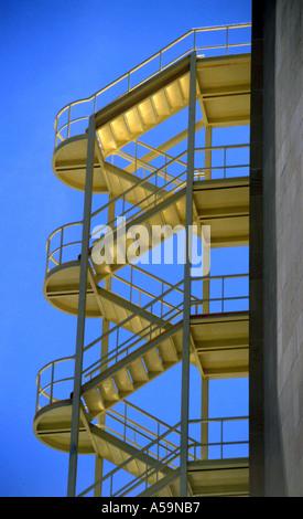 External fire escape on hotel in Magalluf Majorca - Stock Photo