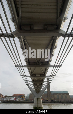 View from underneath the Millenium Bridge, looking towards the Globe theatre and tate modern - Stock Photo