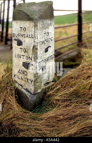 Stone Signpost Upper Wharfedale Yorkshire Dales