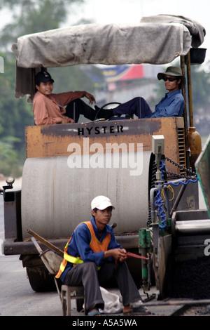 Near Saigon HCMC, Vietnam, road building in progress - Stock Photo