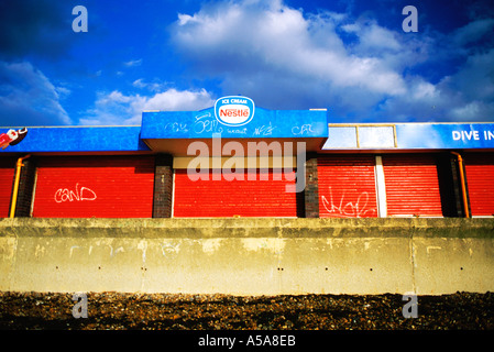 Closed for Winter Cafe in Southsea England - Stock Photo