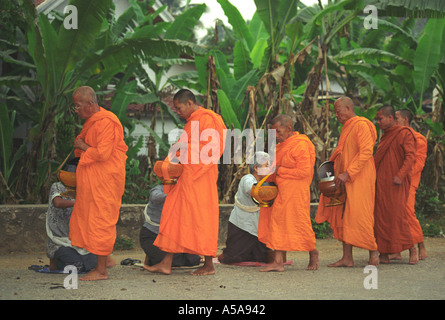 Buddhist Monks Collecting Morning Duty (Alms) in Luang Prabang, Laos - Stock Photo