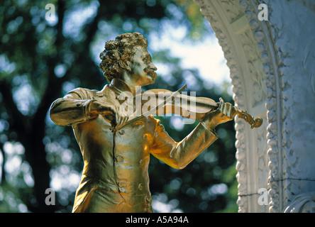 Johann Straus Statue, Stadt Park, Vienna, Austria - Stock Photo
