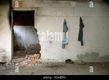A destroyed Serbian house in Kosovo - Stock Photo