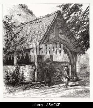 stoke pogis church oak timber entrance man children girl Thames valley Christian GB UK England English United Kingdom - Stock Photo