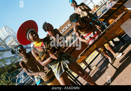 Tribal performance on streets, Johannesburg, South Africa - Stock Photo