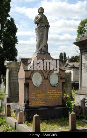 Tomb of Charles Blondin the pseudonym of Jean François Gravelet (1824-1897) in Kensal Green Cemetery London - Stock Photo