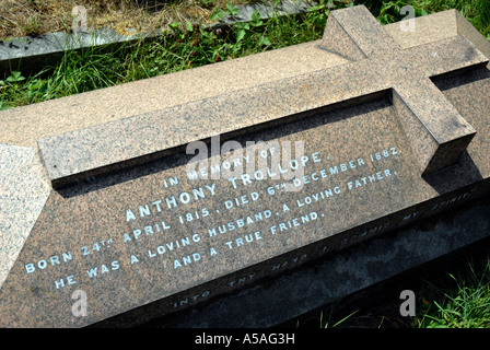 Grave of Anthony Trollope (1815-1882) English writer of Victorian society in Kensal Green Cemetery London - Stock Photo