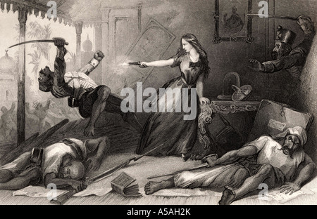 Miss Wheeler defending herself against the Sepoys at Cawnpore, 1857. From The History of the Indian Mutiny, published - Stock Photo