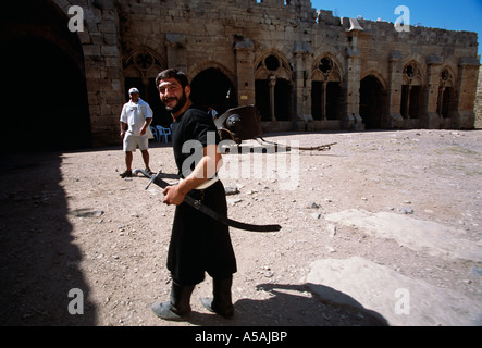 A Syrian actor at a shoot in Syria - Stock Photo