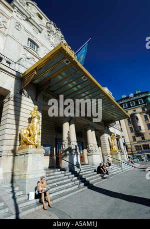 The Royal Dramatic Theatre located by Nybroviken in Stockholm is Sweden's national stage for drama - Stock Photo