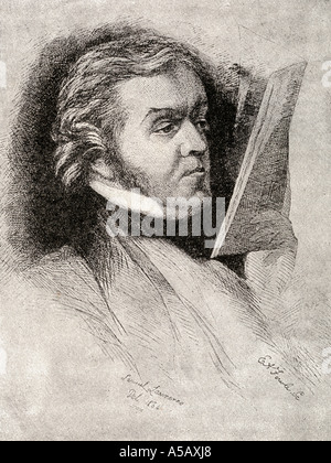 William Makepeace Thackeray, 1811 - 1863.  English novelist, author and illustrator. From an etching of a portrait - Stock Photo