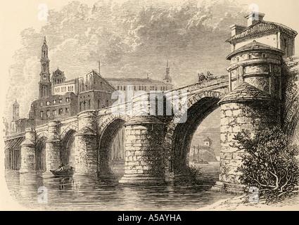 The Puente de Piedra bridge at Saragossa or Zaragoza, Aragon, Spain. From the book Spanish Pictures by the Rev Samuel - Stock Photo