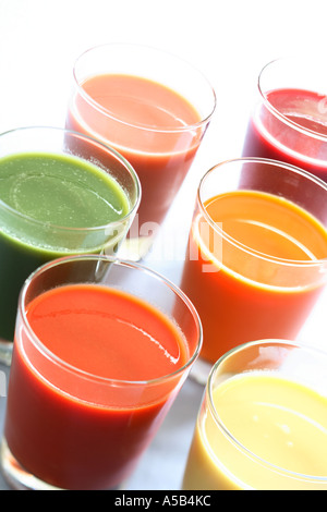 Glasses of Natural Fruit and Vegetable Juices - Stock Photo