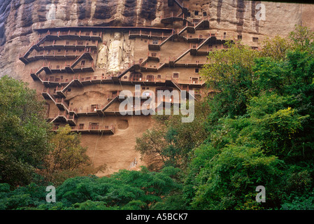 16 metre Buddha statue at Maiji Shan Grottoes in the side of the hill of Majishan in Tianshui, Gansu Province, northwest - Stock Photo