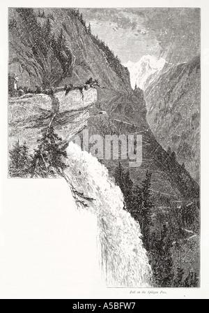 splugen pass alp alpine waterfall Piedmont Lombardy northern north Italy Italian Swiss Switzerland snow hairpin - Stock Photo