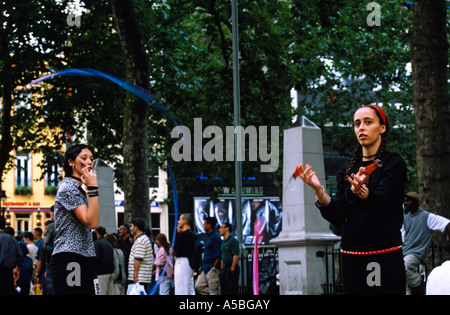 A street performer in Leicester square London - Stock Photo