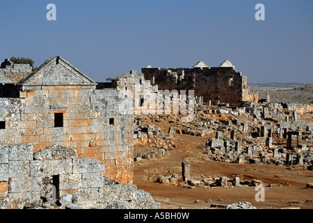 Abandoned ancient Byzantine village, Aleppo, Syria, Middle East - Stock Photo