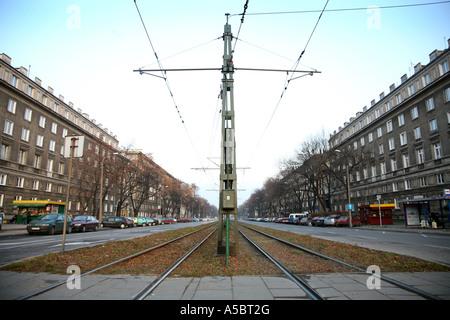 Tramlines Nowa Huta Krakow Poland - Stock Photo