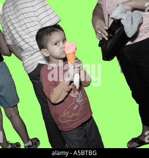Ice Cream boy in family group Cut Out cut-out plain background in the style of Rodchenko desaturated colour color - Stock Photo