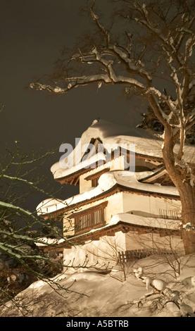 Hirosaki Castle Park - Outer gate aomori prefecture building covered in snow at night - Stock Photo