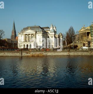 Schwerin, Theater, Blick von der Schloßinsel - Stock Photo