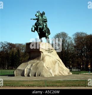 Sankt Petersburg, Eherner Reiter (Dekabristenplatz), Reiterstandbild Peter der Große auf massivem Felsblock - Stock Photo