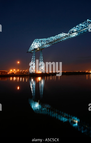 Transporter Bridge over the River Tees Middlesbrough Teesside North Yorkshire England UK - Stock Photo