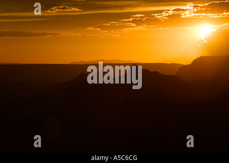 Golden Sunset at the North Rim of the Grand Canyon, Arizona - Stock Photo