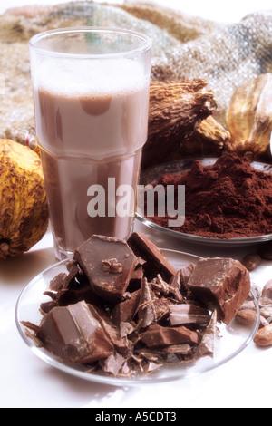 Cocoa pods and chocolate milkshake - Stock Photo