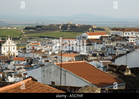 view over rooftops to Forte de Nossa Sehhora da Graca alto alentejo elvas portugal europe - Stock Photo