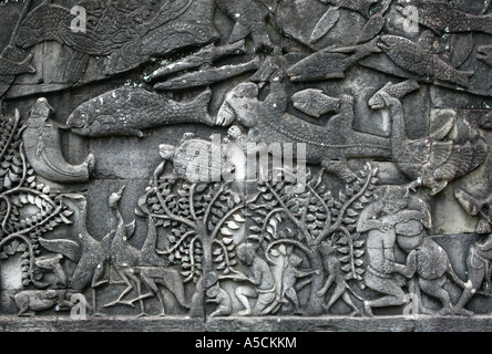 Animals from the Khmer bas-relief of Bayon Temple in the Angkor Area near Siem Reap, Cambodia. - Stock Photo