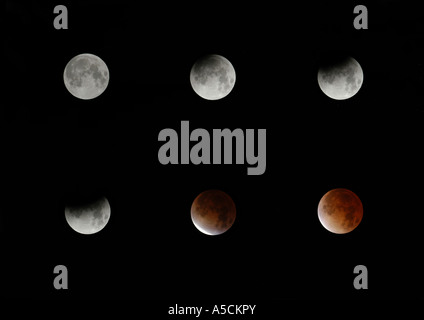 Six phases of a total lunar eclipse seeing from Prague, Czech Republic, on November 8, 2003. - Stock Photo