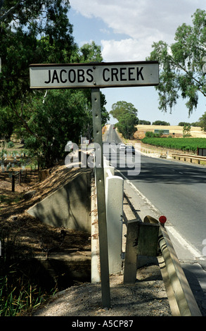 The Jacobs Creek road sign in the Barossa Valley wine region South Australia - Stock Photo