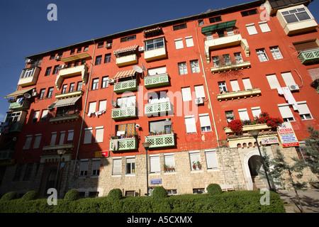 An apartment block in Tirana, Albania - Stock Photo