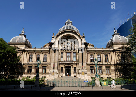 The eclectic building of Romanian Savings Bank (Casa de Economii si consemnatiuni or CEC), Bucharest, Romania - Stock Photo