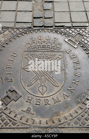 Manhole Cover dedicated to Cultural capital 2007, Sibiu, Romania - Stock Photo