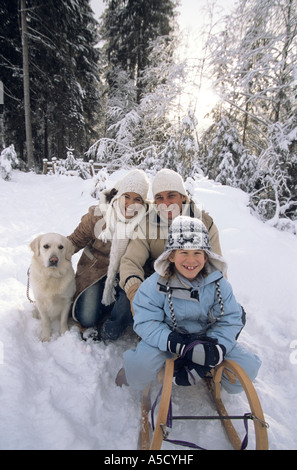 Family with dog - Stock Photo