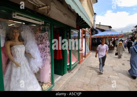 FYROM Republic of Macedonia. SKOPJE Small shops in the Old Bazaar, Carsija the Turkish quarter - Stock Photo