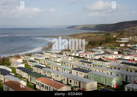 new quay ceredigion static caravan site, on the Cardigan Bay coast, looking north. Wales UK - Stock Photo