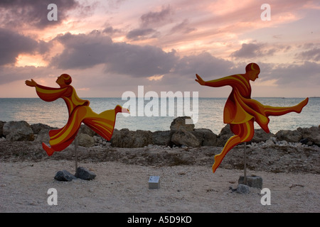 Sculptures on Fort Zachary Beach, Key West Florida - Stock Photo