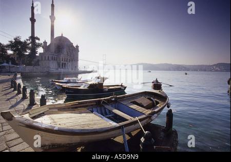 Ortakšy Camii at Bosporus,Turkey, fisherboats at the bay - Stock Photo